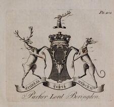 1779 antica stampa ~ PARKER ~ Stemma di Famiglia Stemma Lord boringdon