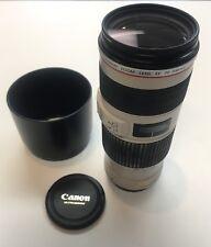 Canon EF 70-200mm Telephoto Zoom f/4 L IS USM Lens w/ Hood & Lens Cap