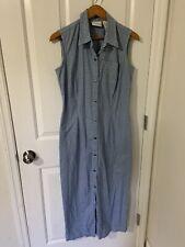 Liz Claiborne Lizwear Jeans Vintage 90's Blue Gingham Button Down Maxi Dress 10