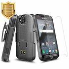 For Kyocera DuraForce Pro E6820 Belt Clip Holster Phone Case + Tempered Glass