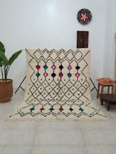Vintage Beni ourain rug Authentic Moroccan Berber carpet Genuine Wool 5ft x 8ft