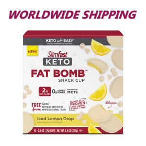 Slim Fast Keto Fat Bomb Snack Cups Ice Lemon Drop 14 Ct FREE WORLD SHIPPING