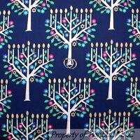BonEful Fabric FQ Cotton Quilt Blue Gold Pink Hanukkah Tree Star Candle Metallic
