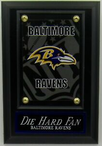 DIE HARD FAN BALTIMORE RAVENS LOGO CARD PLAQUE FOR YOUR MAN CAVE WALL DECOR