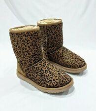 UGG Womens Boots Leopard Print Size 7 Rare Classic Short Mid Calf Sheepskin