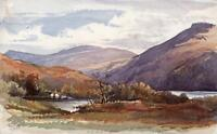 MOUNTAIN LAKE LANDSCAPE Small Victorian Watercolour Painting 1867 SIGNED