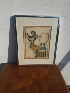 VINTAGE -Graciela Rodo Boulanger  (BIRD)  COLORED LITHOGRAPH SIGNED IN PLATE