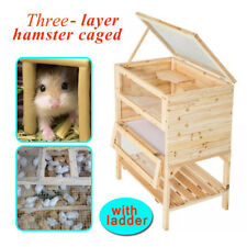 3 Tiers Hamster Cage House Pet Small Animals Exercise Play Wooden Fir Mouse Home