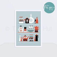 Kitchen | Art Print Black Red Turquoise A3 | Scandinavian Retro Contemporary