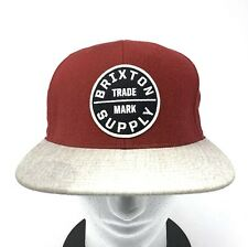 3474409462d7b BRIXTON SUPPLY Men s Snapback Baseball Hat Adjustable Skate Cap Burgundy Red