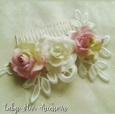 Bridal Hair Comb,Ivory & Dusky Light Pink Vintage Lace & Roses Hair Slide