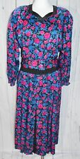 Vintage Diane Freis Boho Flower Floral Polka Dot Peasant 1980's Belted Dress B