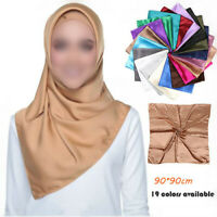 Womens Ladies Square Silk Satin Scarf Solid Hijab Head Neck 90*90cm Scarves Wrap