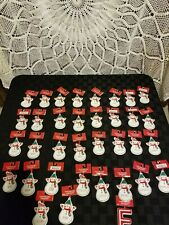 Personalized Snowman Name Christmas Ornament Ceramic Red & White NWT