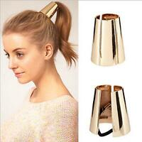 Gold&Silver Punk Style Ponytail Holder Metal Opened Circle Cuff Golden Hair Band
