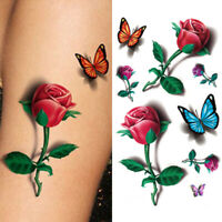 Fashion 3D Flowers Waterproof Temporary Tattoo Stickers Women Beauty Body Art