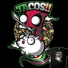 DEADPOOL / INVADER ZIM Tacos & Unicorns Art Marvel Comics NEW TEEFURY T-SHIRT