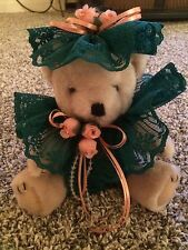 Emerald Green And Peach Lace Teddy Bear Small