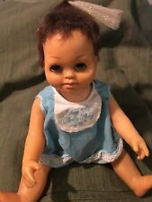 Tiny Chatty Baby brunette, blue outfit adorable doll, w/cord-mute by Mattel