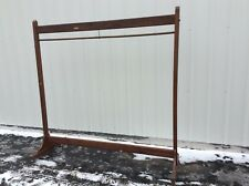 """Antique 74"""" Long Detailed Carved Wood Commercial Coat Rack On Wheels - Very Good"""