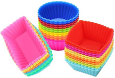 Silicone Cupcake Moulds, Blufied 24 Pack Reusable Nonstick Baking Cases Muffin 3