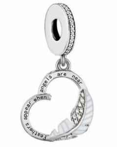 FEATHERS APPEAR WHEN ANGELS ARE NEAR MEMORIAL CHARM 925 STERLING SILVER 💜💛💜