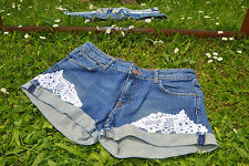 H&M Ladies Vintage Style Embroidery Crochet Customise HotPants Jeans Shorts M44