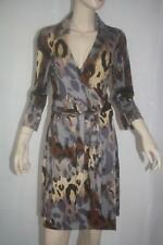 Diane Von Furstenberg Justin Paper Neutral cheetah wrap dress 8 NWT