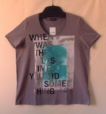 Samoon Shirt by Gerry Weber kurzarm Baumwoll-Stretch grau Damen Gr.52