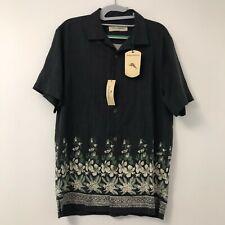New Tommy Bahama Silk Shirt Button Down Hawaiian Coal Gray Men's Size Small