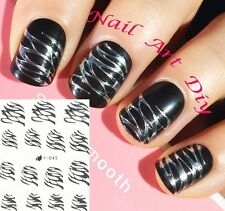 Nail Art Stickers (#Y045 ARGENTO)-Decals-Water Transfer Adesivi-Unghie-Manicure!