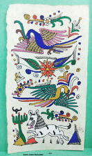 VINTAGE AMATE BARK PAPER PAINTING 6 x 3.50 INCHES COLOR on WHITE FROM MEXICO #22