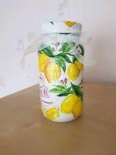 Decorative kitchen jar, handmade , shabby chic, lemons