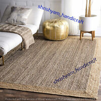 Natural Decorative Pure Jute Woven Rag Rug Bohemian Woven Room Carpet Floor Mats