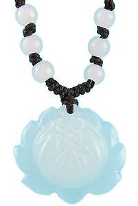 Halskette weiße Jade Perlen Om AUM Halsschmuck Joga Lotus Stein Chakra (TG00248)