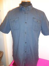 Mens BUFFALO DAVID BITTON 55% Cotton 45 % Polyster  Short sleeve Shirt L Navy