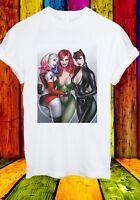 Harley Quinn Poison Ivy Catwoman Sexy Superheros Men Women Unisex T-shirt 2738