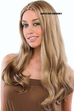 LONG WAVY BLEACH BLONDE WITH CARAMEL HIGHLIGHTS MIX FULL WIG HAIR PIECE