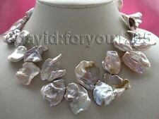 "18"" Genuine Natural 24x30mm Purple Reborn Keshi Petal Pearl Necklace 14k #f1333!"