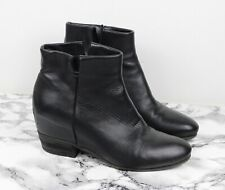 RUSSELL & BROMLEY Black Leather Hidden Wedge Ankle Boots, Size UK 6 / EU 39