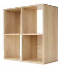 4 Cube Unit Bookshelf Storage Bookcase Oak Look Case Organiser Display Shelf