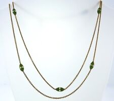 14k Yellow Gold Chrysoprase and Chrystal Chain