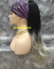 Ombre Black Gray Mix Long Layered Wavy Ponytail Hair Piece Extension Drawstring
