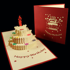 POP UP 3D birthday card - 3 tier cake, candle & sequin decoration (kirigami)