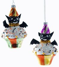 Katherine's Collection Set Of 2 Tricky Treat Halloween Bat Cupcake Ornaments NEW