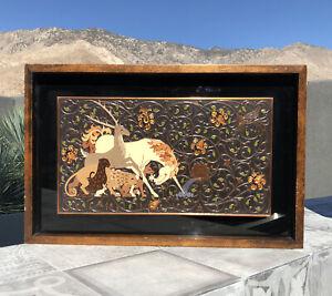Vintage MCM HANDEL Cloisonne Enamel Copper Unicorn Animals WALL ART PLAQUE RARE