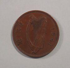 Penny Ireland 1941 Bronze World Coin Irish Harp Hen with Chicks K11 Eire pence