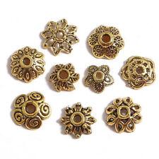 50pcs Flower Shape Antique Gold Loose Metal Bead Caps Spacer Beads Bulk Lot