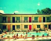 Mid Century Art Print 16x20, 1960's Motel Pool Party, MCM Decor, Colored Doors