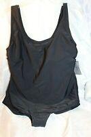 Women's Solid Black Catherines Plus Size 18W~2X One Piece Swimsuit Swimwear~NWT